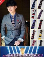 Wholesale Fashion Men Women Striped Polka Dot Woven Neck Ties Knitting Knitted Ties Slim Skinny Party Necktie Colors