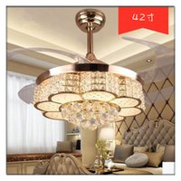 Wholesale Modern Crystal Noble Round Shaped LED Living room Ding room Ceiling Fan Lights with Retractable Blade and Pure Copper Winding Motor