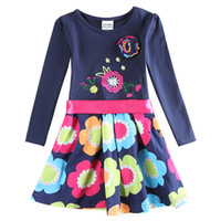 Wholesale Hot sales Girl s dresses for school Embroidered Dresses kids girl printing Dresses for kids Flora Girl s clothes