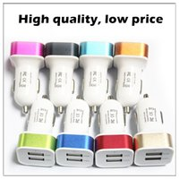 Wholesale 100pcs dual port car usb charger adapter for iphone6 plus s s samsung galaxy usb Universal car charger