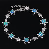 beach vacation gifts - Unique Turtle Shaped White Gold Plated Brown Fire Opal Bracelets for Women Beach Vacation Jewelry New Bracelets Bangles