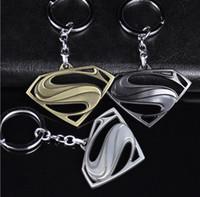 Wholesale 2017 Hot Sales Marvel Comics Fashion Classic D Simulation Model Superman Logo Keychain Zinc Alloy Key Chain Ring Keyring