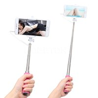 Wholesale Selfie Stick cm to cm Extended Wired Selfie Holder Shutter Self Portrait Self Pole Fold Monopod Tripod for Android for iOS