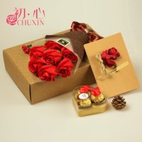 Wholesale Valentine s day gift chocolate gift box roses creative literary men and women friends New Year soap flowers for her birthday