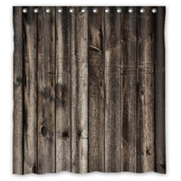 Wholesale Customs W x H Inch Shower Curtain Vintage Rustic Old Barn Wood Polyester Fabric Shower Curtain