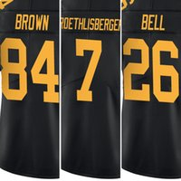 Wholesale Men s Le Veon Bell Jersey Men s Ben Roethlisberger Adult Embroidery Logos Antonio Brown Black Rush Limited Jerseys