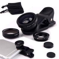 Wholesale 3 in Wide Angle Macro Fisheye Lens Universal Camera Mobile Phone Lenses Fish Eye Lentes For iPhone Smartphone Microscope
