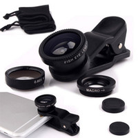 Wholesale NEW Universal in Wide Angle Macro Fish eye Lens Camera Mobile Phone Lenses Fish Eye Lentes For iPhone Smartphone Microscope