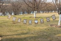 Wholesale THANK YOU decoration wedding banner rectangle design shape Wedding Bunting Banner For Party set