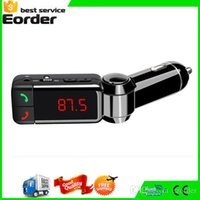 Wholesale LCD Bluetooth Car Kit Mp3 Player FM Transmitter Modulator BC06 with LED Display Portable Dual USB Charger Handsfree For iPhone