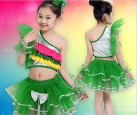 Wholesale 2017 younth belly dancing skirt stage wear for girls kids festival competition veil costumes Jazziness Latin dance skirt as performance