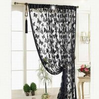 Wholesale New Luxury Sheer Door Window Curtains for Kitchen Living Room Divider Strip Tassel Butterfly Pattern Bedroom Window Curtains