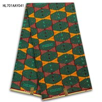 Wholesale High quality holland wax fabric african cotton dutch prints wax fabrics for nigerian garments yards in blue yellow SP701AAY033