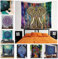 Wholesale Mandala Hippie Tapestry Bohemian Elephant Tapestry Wall Hanging Psychedelic Wall Art Dorm Decor Beach Throw Polyester Beach Shawl Bath Towel