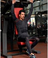 Wholesale New Fitness Men Gym Clothes Set Workout Clothes Quick Dry Running Pants Sports Leggings Long Sleeve T shirts Men Sport Suit