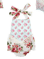 Wholesale Baby romper Baby Girls flowers printed suspender jumpsuit toddler kids lace hollow out climb clothes bebe tassel backless jumpsuit Z0066