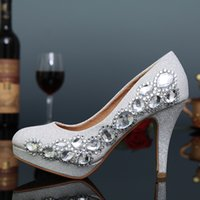 ballet pigs - 2017 New Cheapest PU Leather Crystal Beads Fashion High Heels Women Bridal Heels Handmade Bridesmaid Lady Evening Party Prom Pumps