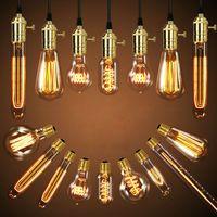 Wholesale Antique Vintage Retro Edison Light Bulbs V V E27 W Incandescent Light Bulbs G80 G95 A19 T10 T45 T185 T300 ST64