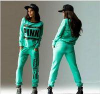 Wholesale sport wear Tracksuit Women Letter vs Pink Print Sport Suit Hoodies Sweatshirt Pant Jogging Sportswear Costume pc Set
