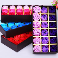 bath oil with flower - 18pcs box Scented Soap Rose flower Essential Oil with Gift Box romantic Lover Valentine s Day Wedding Gifts Body Bath Flowers