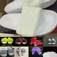 Wholesale Brand New Rihanna Fenty Leadcat Fur Slides Pink Black White Red Grey Slide Indoor Sandals Womens Slippers retail