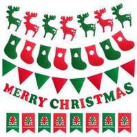 Wholesale christmas decorations flags christmas hanging wall bunting christmas banners Xmas hanging flags
