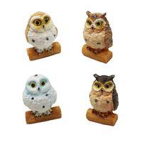 Wholesale 4 Pieces Miniature Fairy Garden Owl Statues for Dollhouse DIY Home Garden Patio Decoration