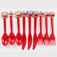 Wholesale pack Cars Theme Party Favors Plastic Knives Forks Spoons for Kids Birthday Party Decoration Baby Shower Decoration