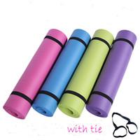 Haute qualité 183 * 61 * 1.0cm NBR tapis de yoga 10mm Caoutchouc naturel Haute densité antidérapant Pad Pilates Fitness avec Tie pique-nique enfants ramper