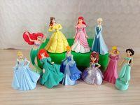 Wholesale New Princess Figures Toys Mermaid Snow White Bella Ariel Jasmine Cinderella Rapunzel Baby Girl Birthday Gift Collections