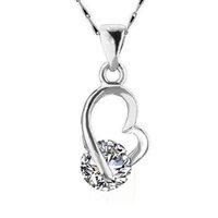 al por mayor collar del corazón zirconia-Collar encantador del corazón La nueva plata de la llegada plateó el collar pendiente cristalino solamente blanco para el envío libre de las mujeres