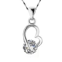 Wholesale Lovely Heart Necklace New Arrival Silver Plated White Only Crystal Pendant Necklace for Women