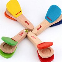Wholesale Music Toys Kid Wooden Handle Castanet Child Musical Instrument Orff Knock Instrument Toy Fashion Gift DHL Free