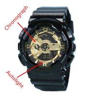 venda por atacado luxury watches-Autolight relogio 110 de alta qualidade não relógios desportivos de homens da caixa, homens de marca de luxo relógio cronógrafo LED todos os ponteiros de trabalho 3ATM resistente à água