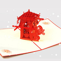 asian chairs - pieces Handmade D Pop Up Cards Chinese Asian Style Red Bridal Sedan Chair for Marriage Greeting Cards