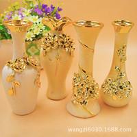 Carved antique ceramic vases - 4 optional gold bronzing European carved vase characteristics ceramic crafts household goods decorative works of art interior supplies serie