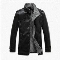 Wholesale JSEO Men Vintage Stand Collar Pu Leather Jacket Winter Fashion Faux Coats Casual Wear Fleece Lining