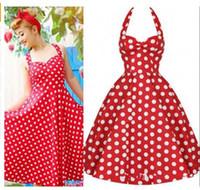 Wholesale Pin Up Swing Vestidos Polka Dots Women Summer Dresses Halter Backless s Vintage Retro Robe Casual Clothing