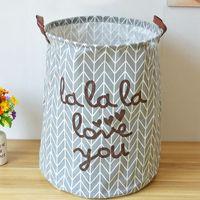 Wholesale Paragraph Letter Plain linen fabric with handle storage baskets toys clothes closet organize storage box x50 h cm