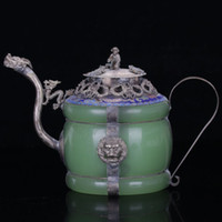 Post-1940 armor lid - Collection Natural jade Armor Dragon ion Tibet Silver Handwork Teapot Monkey lid