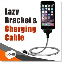 Universal   Lazy Bracket Palms Shape folding metal hose Charging Cable Stand Up Phone Data Cable Coiled Holder in One for All Andriod Apple Smart Phone