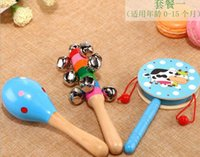 Wholesale Children s toys December wooden percussion instrument sets to exercise the brain baby music hand drum