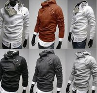Wholesale Chrismas Hot Mens Coat Slim Fit Autumn Winter Fur Collar Hoodie Coats Slant Zipper Metal Buckle XS S M L XL Warm Jackt For Men