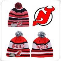 Wholesale NEW HOT Sport KNIT NHL NEW JERSEY DVILS Ice Hockey Club Beanies Team Hat Winter Caps Popular Beanie Fix Cheap Gift hot