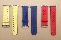 band rows - Leather Band For Apple Watch Sport Band Replacement Genuine Wrist Strap With Breathable Hole With Adapters Row of Row Holes Perforations