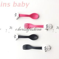 Wholesale DHL Fedex Free Baby Minnie Mouse Spoon Fork Set Measuring Spoon Set Flatware Kitchen Fork Spoon Set Utensil Baby Fun Meal M439