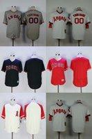 al por mayor anaheim ángeles jersey negro-Ángeles de Los Ángeles de Anaheim Custom Cool Base Gray Road Negro Rojo Suplente Casa White Road Grey Suéter Gire Atrás El Reloj Jerseys S-4XL