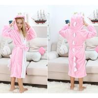 Wholesale 100 Flannel Caroon Animal Robes For Boy Girl Kids Hooded Pink Dinosaur Pajamas peignoir enfant Long Sleeve Children s Bathrobes