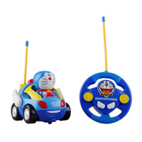 Wholesale baby boys girl Doraemon Remote Control Electric toys car kids RC Car High speed Cute cat Cartoon musical light child Car toy