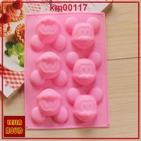 Wholesale Mickey Mouse Shape holes D Silicone Mold Cake Decoration tools Food Grade cake soap chocolate Fondant Moulds baking tools bakeware